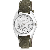 Vicbono Round Dial Green Pu Strap Quartz Watch For Men