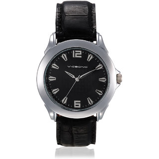 Vicbono Round Dial Black Pu Strap Quartz Watch For Men