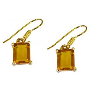Riyo Yellow Citrine Cz  18kt Gold Plated Genuine Earring L 1in Gpecicz-94020