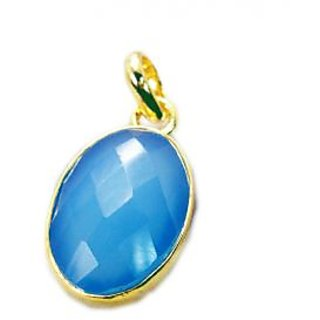 Riyo Blue Chalcedony  Gold Plated Collection Pendant L 1.5in Gppbch-8021