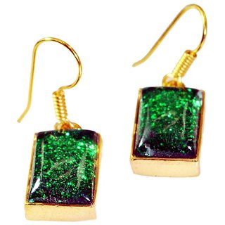 Riyo Dichroic Glass Indian Gold Plate Vintage Earring L 1.2in Gpedgl-22014