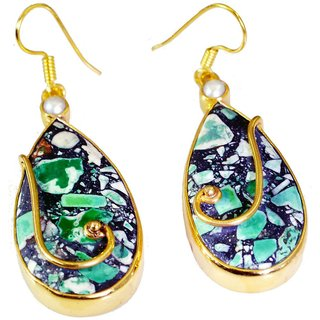 Riyo Turquoise Buy Gold Plated Jewelry Mother Earring L 2.5in Gpetur-82005