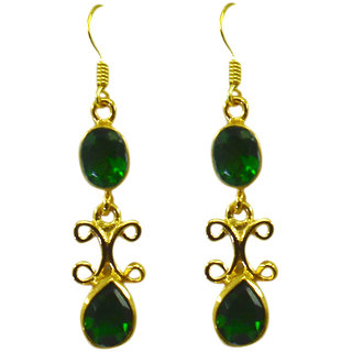 Riyo  Emerald Cz  18kt Gold Plated Innovative Earring L 2in Gpeemcz-96029