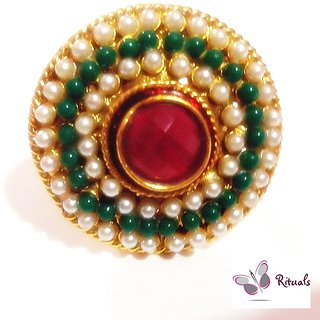 DESIGNER ADJUSTABLE EMERALD,PEARLS RING-  FITS ALL