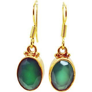 Riyo Green Onyx 18c Gold Plated Earrings L 1.2in Gpegon-30014