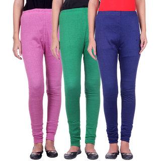 BelMarsh Woolen Lycra Legging - Pack of 3 (B-Pink Green Navy)