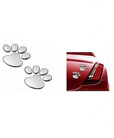 Takecare Soonai 3D Foot Mark Lucky Charm Car Sticker Silver For Hyundai Grand I-10