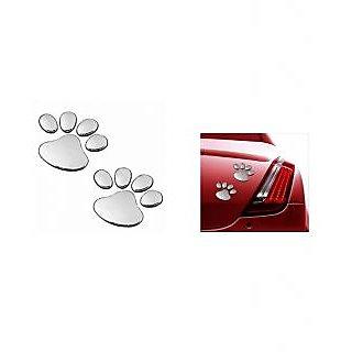 Takecare Soonai 3D Foot Mark Lucky Charm Car Sticker Silver For Tata Vista