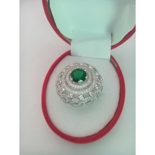 Cocktail Original 92.5 Silver Ring Imported By You2Deal Royal Green Colour