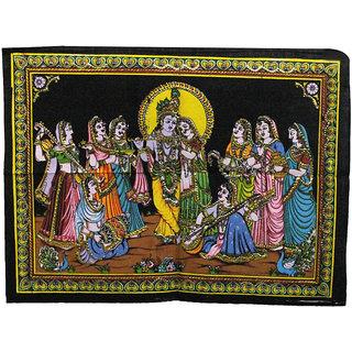 Handicrunch Lord Krishna Radha Indian Gods Sequin Sitara Batik Cotton Wall  Tapestry