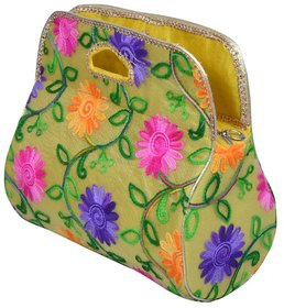 Angelfish Designer Floral Print Women Handpurse Yellow