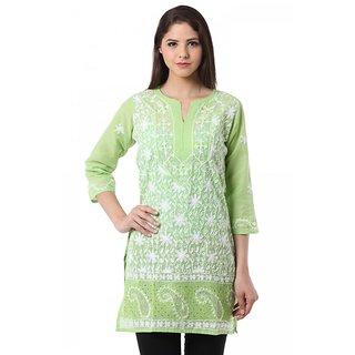 Saadgi Light Green Lucknowi Chikan Embroidered kurti