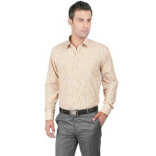 Zido Slim fit Yellow Striped Mens Formal Shirt