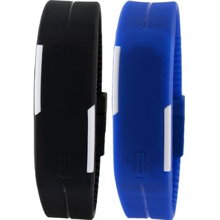Pappi Boss Unisex Seit of 2 Black  Blue LED watch