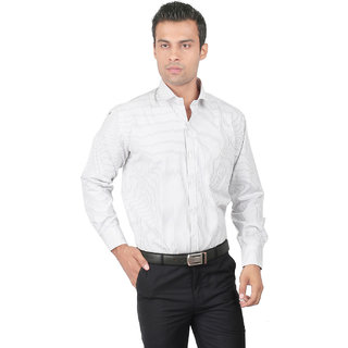 Zido Slim fit Grey Striped Mens Shirt