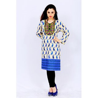Factory Direct Blue Embroidered Cotton Stitched Kurti