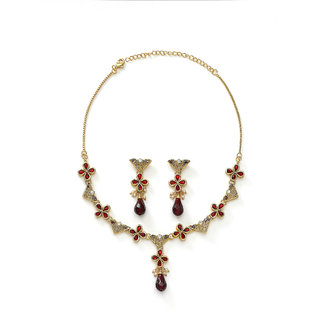 Xcite Elegant Necklace Set in Red Stones for Wedding & Party Wear - XNS122