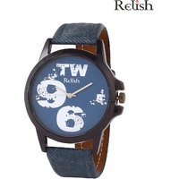 Relish Round Dial Blue Leather Strap Quartz Watch For M