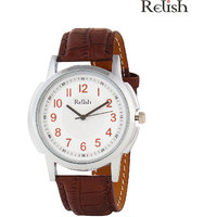 Relish Round Dial Brown Leather Strap Quartz Watch For