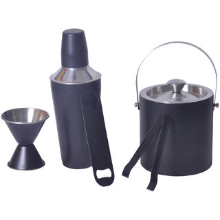 5 pc Black Color bar set - Cocktail Shaker, Double sided Peg measure, Double wall Ice bucket, Ice Tong and Bottle Opener