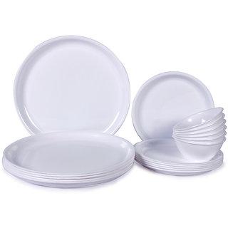 Dinner Set - Incrizma White Round Plastic Dinner Set - 18 Pcs