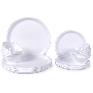 Dinner Set - Incrizma White Round Plastic Dinner Set - 24 Pcs