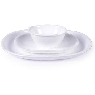 Dinner Set - Incrizma White Square Plastic Dinner Set - 24 Pcs