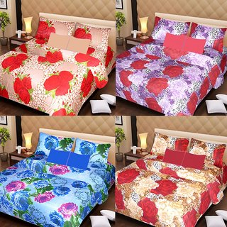 Akash Ganga Beautiful Combo of 4 Double Bedsheets with 8 Pillow Covers (AG1243)