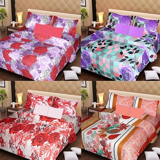 Akash Ganga Gorgeous Combo of 4 Double Bedsheets with 8 Pillow Covers (AG1245)