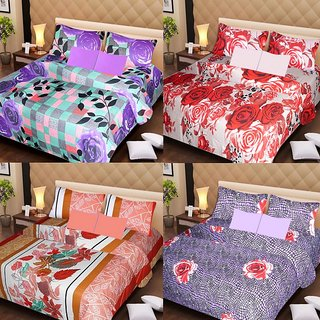 Akash Ganga Glorious Combo of 4 Double Bedsheets with 8 Pillow Covers (AG1247)