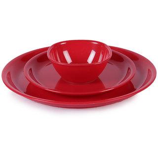 Dinner Set - Incrizma Red Round Plastic Dinner Set - 32 Pcs