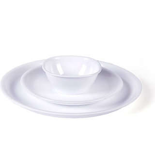 Dinner Set - Incrizma White Round Plastic Dinner Set - 32 Pcs
