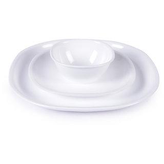Dinner Set - Incrizma White Square Plastic Dinner Set - 32 Pcs