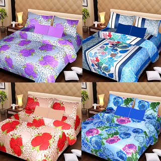 Akash Ganga Beautiful Combo of 4 Double Bedsheets with 8 Pillow Covers (AG1249)