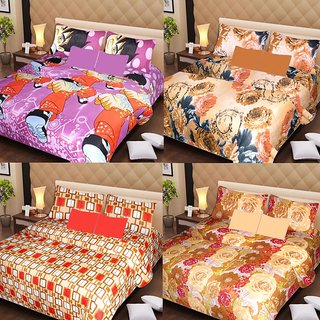 Akash Ganga Beautiful Combo of 4 Double Bedsheets with 8 Pillow Covers (AG1251)