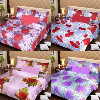 Akash Ganga Beautiful Combo of 4 Double Bedsheets with 8 Pillow Covers (AG1252)