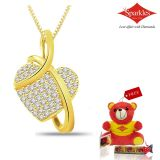 Sparkles Gold And Diamond Heart Shaped Pendant With Gold Plated Silver Chain P5779