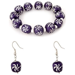 Villcart Ceramic Bead Bracelet and Earrings Set - Purple