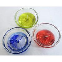 Set Of 6 Colourful Glitter Big Size Diya Gel Candles. L