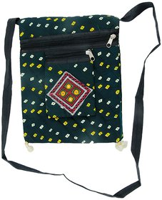 Ratash Green Bandhej sling big Bag