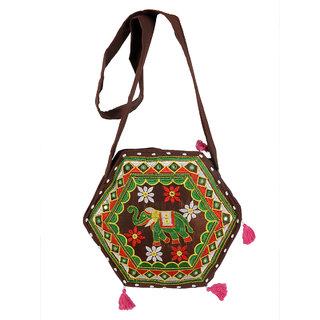 Ratash Brown Rajwada hexagon shape Bag