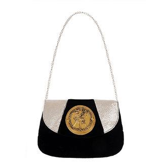 Ratash Black Velvet Sling Bag