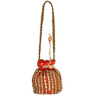 Ratash Orange Potli bag multi shape beads