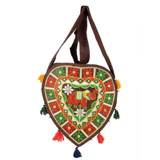 Ratash Brown Rajwada heart shape Bag