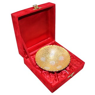 Decorifyme Silver Gold Plated Bowl Set With Velvet Box Diwali Wedding Gift Set