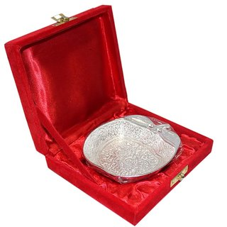 Decorifyme Apple Tray Bowl Dish Set Silver Plated Handmade Engraved Festival Wedding Diwali Gift Set