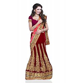 Triveni Maroon Net Embroidered Saree With Blouse