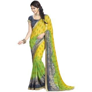 Triveni Yellow Chiffon Printed Saree With Blouse