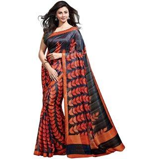 Triveni Gray Art Silk Printed Saree With Blouse