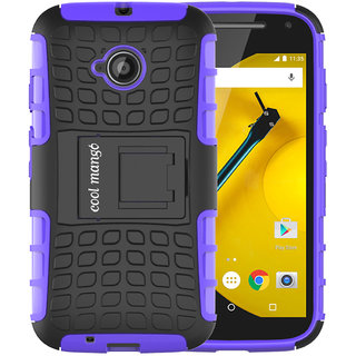 Moto E 2nd Gen Protective Case / Moto E2 Back Case  Cool Mango Premium Dual Layer Armor Protection Case with Kickstand for Moto E 2nd Generation / E2 (3G  4G Models) - Purple